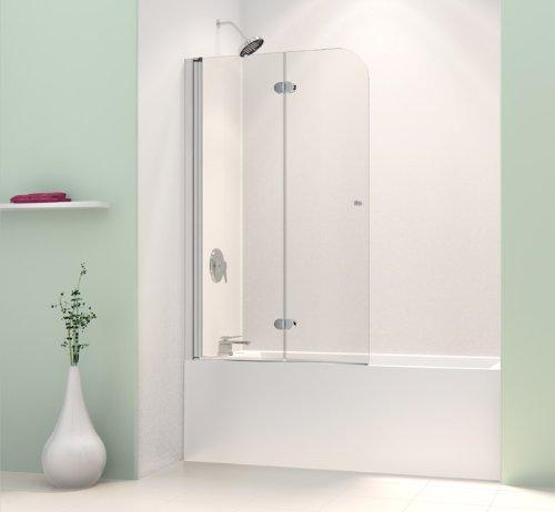Discover Bargain DreamLine SHDR-3636580-01 AquaFold 36-Inch Frameless Hinged Tub Door, Chrome Finish