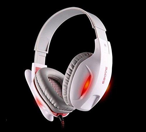 Sades Sa-808 Black Led Light Top Professional Game Headphone (White)