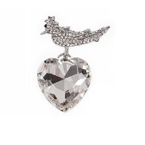 Bird with Glass Crystal Heart Brooch #029989
