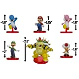 Mario Luigi Yoshi (Blue & Pink) Bowser Toad: Super Mario 6 Mini-Figure Collectors Gift Set