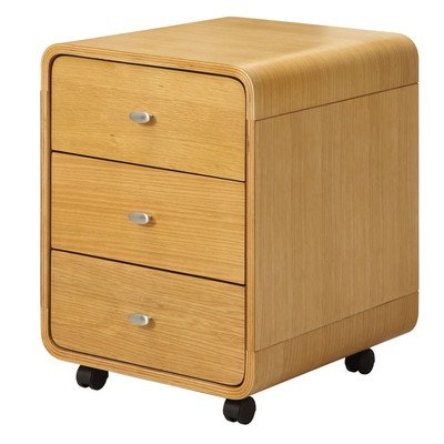Curve 3-Drawer Mobile Vertical Filing Cabinet Finish: Oak