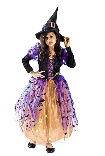[Witch Halloween Costume Girls S (4-6 Years)] (Girls Light Up Witch Costume)