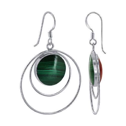 EMES064 Sterling Silver 14mm Round Double Sided Malachite and Simulated Coral Wired design French Ear Wire Dangle Earrings