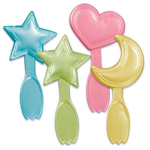 Dress My Cupcake Dmc41B-813 12-Pack Baby Moon, Heart Spoon Pick Decorative Cake Topper, Stars, Assorted