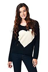 [The Classic Brand] Black Distressed Heart Sweater Small