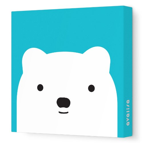 "Avalisa Stretched Canvas Nursery Wall Art, Bear Friend, Turquoise, 12"" x 12"""