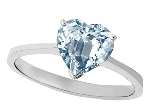 Tommaso Design Genuine Aquamarine Heart-Shape 8Mm Solitaire Engagement Ring 14K Size 4.5