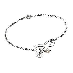 Bracelet Infini à Personnaliser avec votre Initiale! Gravure Gratuite