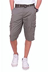 Origin Smart Grey Casual Fix waist Patterned Cotton Shorts With Belt For Men   OR6229GRY