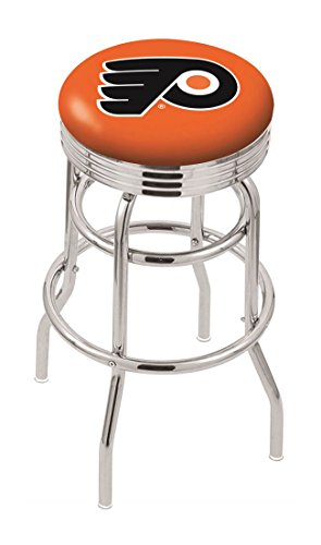 "25"""" L7C3C - Chrome Double Ring Philadelphia Flyers Swivel Bar Stool with 2.5"""" Ribbed Accent Ring-By BlueTECH"