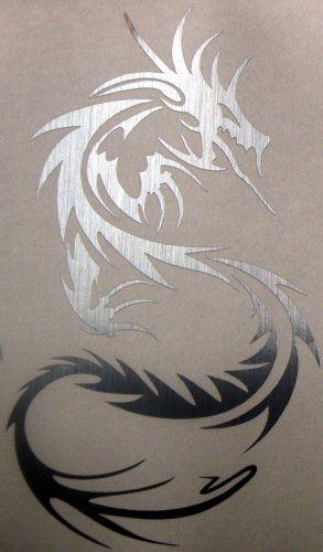 Tribal dragon Brushed chrome die cut decal / sticker
