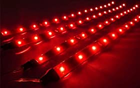 Cutequeen Trading 30cm 5050 12smd LED Car Flexible Waterproof Light Strip Red (pack of 4)