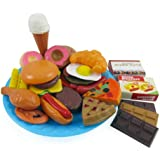 Fast Food & Dessert Play Food Cooking Set for Kids - 30 pieces (Burgers, Donuts, Ice Cream, & more)