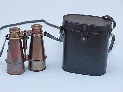 "Captain'S Antique Brass Binoculars With Leather Case 6"" - Functional Brass Binoculars"