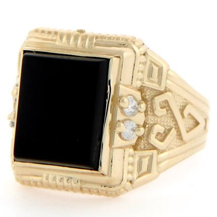 9ct Solid Gold 12 X 10mm Rectangular Onyx CZ Mens Ring