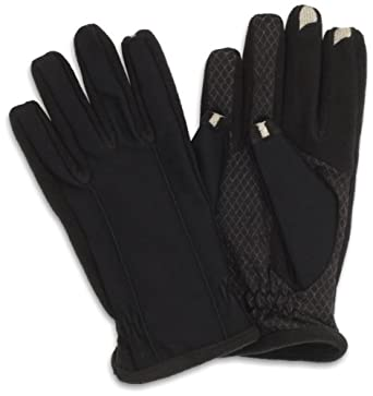 Isotoner Men's Smartouch Tech Stretch Gloves, Black, Medium