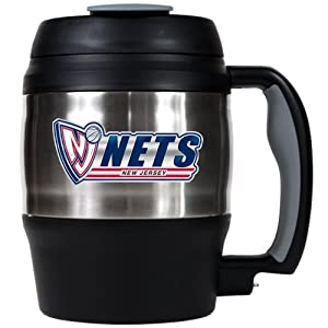 NBA New Jersey Nets 52-Ounce Stainless Steel Macho Travel Mug with Bottle Opener by Great American Products