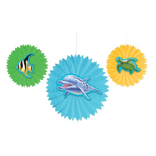 Creative Converting Ocean Party 3 Count Tissue Fans Party Decoration