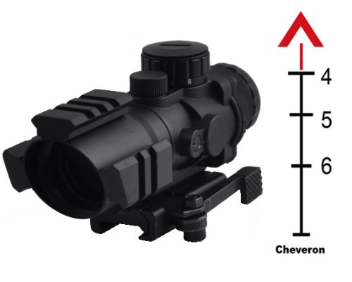 Tactical Prismatic Scope With Three Rail On Top And Two Side And Eched Chevron Reticle