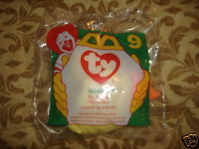 1996 McDonalds TY Quacks The Duck Teenie Beanie Babies # 9 - 1