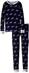 Hatley Little Girls' Henley Pajama Set Girl Moose
