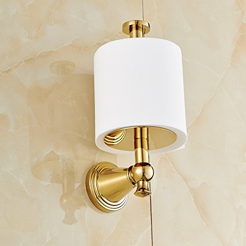 Gold Polished Upright Style Toilet Paper Holder Wall Mount