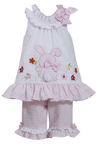 Bonnie Jean Girls Seersucker Bunny Easter Dress Capri Outfit, 2t - 4t