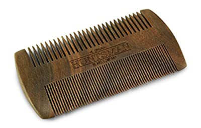 Huntsman Handmade Sandalwood Beard and Mustache Comb - The Original Wooden Pocket Combs for Men - Fine Tooth/Coarse Tooth, No.3b