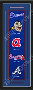 Heritage Banner Of Atlanta Braves With Team Color Double Matting-Framed Awesome &... by Art and More, Davenport, IA