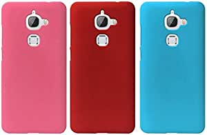 Universal Deals Combo of 3 Pieces Rubberized Matte Hard Back Case Cover For LeEco Le 2 Le 2 pro (Pink , Red & Skyblue)