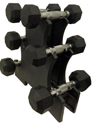 Ader-8-Side-Rubber-Encased-Dumbbell-50-Lb-3-Pair-Set-w-Rack