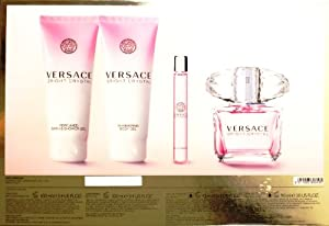 VERSACE BRIGHT CRYSTAL 4 Piece Gift Set for Her (3 OZ EDT SPRAY, 3.4 OZ BODY GEL and 3.4 OZ SHOWER GEL and 0.3 OZ EDT ROLLER BALL)