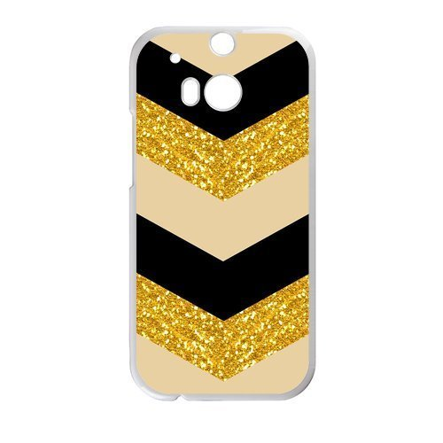 Aztec Series Chevron Design Gold Black Bling (No Shine) Custom Luxury Cover Case with Plastic For HTC One M8(Black) (Htc Mobile Price compare prices)