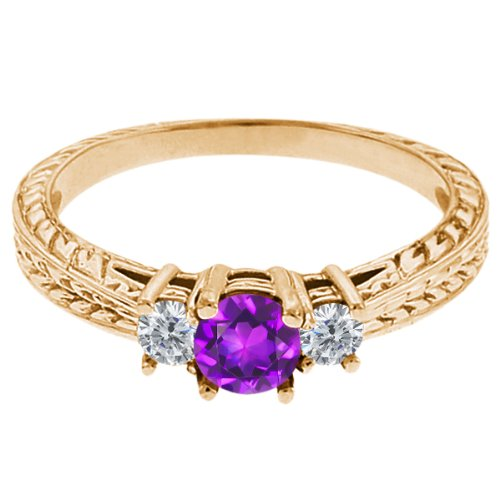 0.60 Ct Round Purple Amethyst G/H Diamond 18K Yellow Gold 3-Stone Ring