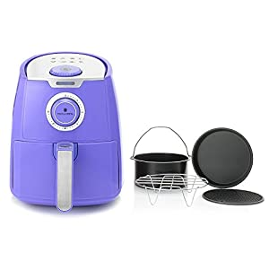 Air Fryer Manual 3.5 Qt. by Paula Deen with a Ceramic Nonstick Basket and 4 Piece Accessory Set, Purple, Great in Cooking Different Kinds of Food
