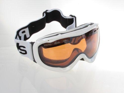Ravs Snowboardbrille Skibrille Weiss - Kontrastverstärkt Helmkompatibel Inklusive Softbag
