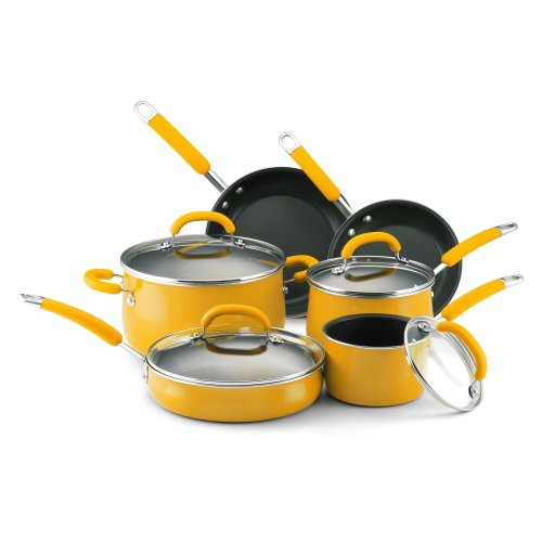 Cheap rachael ray porcelain enamel nonstick 10 piece for Buy kitchen cookware