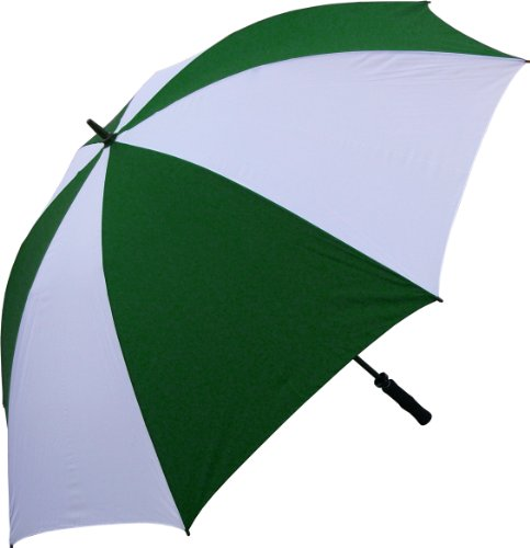 RainStoppers 68-Inch Oversize Windproof Golf Umbrella (Dark Green and White) image