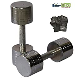 Body Maxx Chrome Steel Dumbells, 5 Kg*2
