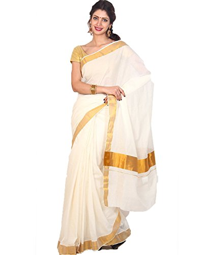 Samskruti Sarees Cotton Saree with Blouse (SKKCS-1_White)