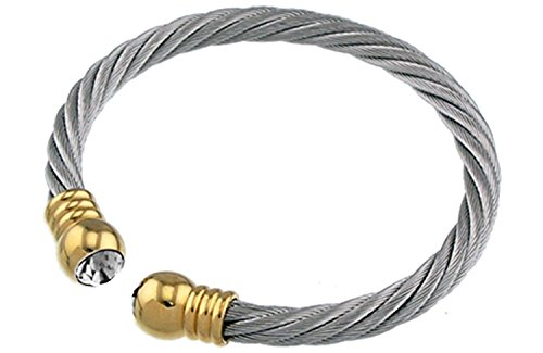 Two Tone Crystal Stones Stainless Steel Expandable Bangle Bracelet