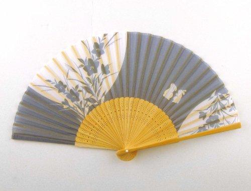 Japanese Silk Handheld Fan, Blue-Grey with White Bunnies HF183