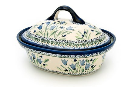 Polish Pottery Blue Tulip Roaster With Lid