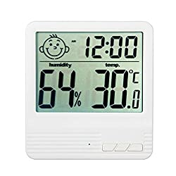 HENSE Multi-function Digital Alarm Clock Built-in Hourly Chime Function,Bedside Desktop Electronic Clock Displaying Time, Temperature,Humidity,Alarm with Cute Changeable Baby Face HT08 (White)