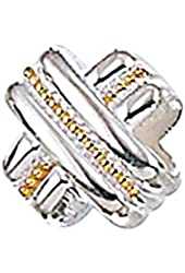 Zable Sterling Silver and Yellow Color Plated Designer X Bead