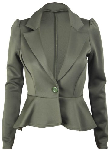 New Ladies Long Sleeve Peplum Flared Frill Womens Fitted Button Blazer Smart Jacket Khaki Green Size 12