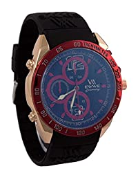 Addic EWWE Stylish Red Tachymeter And Light Gold Case With Black Strap And Blue Dial Sports Watch For Men (41)