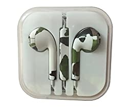 KARP Fancy Printed Designer Earphone for Apple iPhone/Android Mobiles/Tablets with Mic (Military Print)