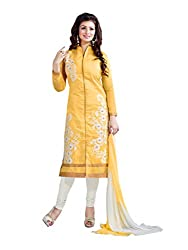 Yellow colour embroidered chanderi fabric semi stich churidar dress material