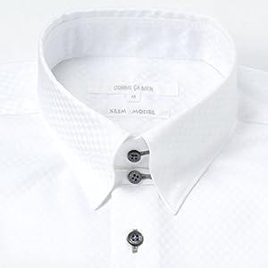 コムサメン(COMME CA MEN) サテンブロックチェックドレスシャツ【ホワイト/S】